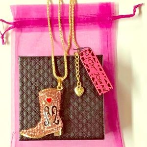 """Betsey Johnson 28"""" Necklace Cowgirl Boot Pink"""